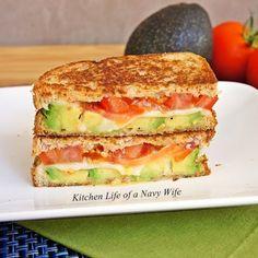 Avocado, Mozzarella and Tomato Grilled Cheese w/pita or flat bread