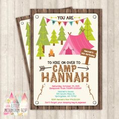 Camping Invitation - Camping Birthday Invitation - Sleepover Birthday Invitation - Camping Party - DIY Printable or Printed Invitation by LittleMountainTop on Etsy https://www.etsy.com/listing/247453988/camping-invitation-camping-birthday