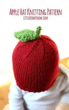 Free Apple Hat Knitting Pattern for babies! | littleredwindow.com
