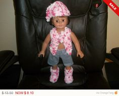 American 18 Inch Doll Clothes Hat Sweater Boots and shorts white pink and gray by sue18inchdollclothes on Etsy