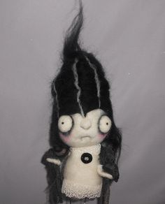 Bride of Frankenstein Ooak art doll by papermoongallery on Etsy, $49.00