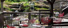 Dining veranda at Poconos hotel The Ledges -- Hawley, PA Near Big Bear