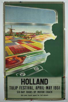 Holland Tulip Festival 1951 vintage poster
