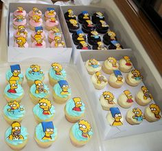 The Simpsons Cupcakes - The Simpsons Party Bolo Simpsons, Simpsons Party, The Simpsons, Kid Cupcakes, Cupcake Cakes, Simpson Cake, Easy Kids Birthday Cakes, Character Cupcakes, Caking It Up