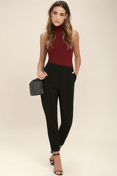 The You Know Me Black Pants are a chic choice, whether you're TCOB or  brunching with your best babes! Casual chic jogger pants with an  elasticized waist and ...