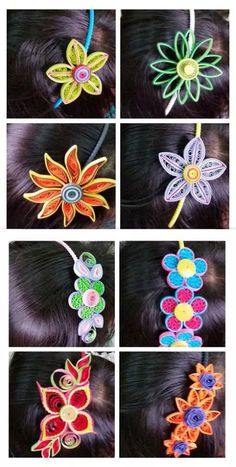 Quilled hair bands Paper Quilling Earrings, Arte Quilling, Quilling Comb, Origami And Quilling, Quilling Paper Craft, Quilling Flowers, Paper Crafts, Paper Jewelry, Fabric Jewelry