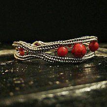 Náramky - Náramok - červený koral - 8144991_