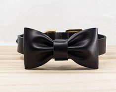 Dog Collar   Leather Dog Collars   Black Bow Tie Dog Collar   Bowtie Dog Collar   Personalized ID Custom Stamp   Pet Collar   ShinyLake