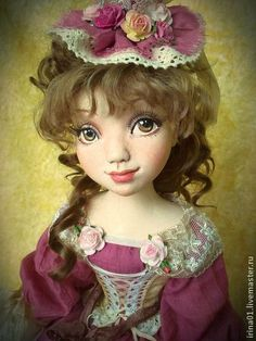 Анжелика - коралловый,интерьерная кукла,кукла ручной работы,кукла из паперклея