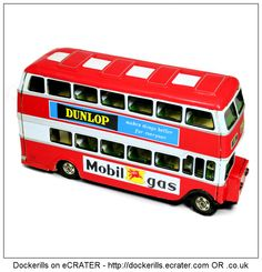 Double Decker Bus, HAYASHI/ATD, Japan (Picture 1 of 2). Vintage Tin Litho Tin Plate Toy. Friction Drive Mechanism.