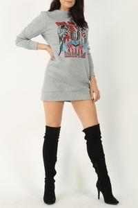 Rock & roll sweater dress, silver grey