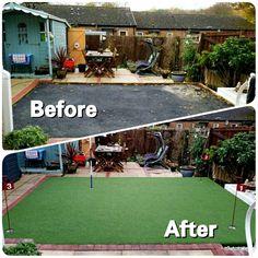 Before and After Putting Green Project  #WestLothianLandscapeDesign #artificial #fakegrass #artificialgrass #astroturf #grass #syntheticgrass #syntheticturf #garden #landscape #gardening #scotlandUK