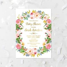 Spring Floral Baby Shower Invitation Printable Baby Sprinkle Invite Pastel Floral Wreath Baby Shower Invite Watercolor Blush Flowers 233 by MossAndTwigPrints on Etsy