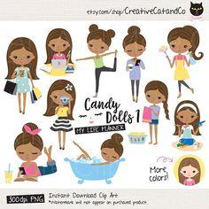 African American Girl Clipart Brown Skin Girl Lifestyle Etsy Girl clipart Clip art Digital sticker