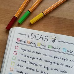 #PlanWithMeChallenge Day 6: One of my most useful lists in the #bulletjournal is my #idea list (It basically functions like the #braindump list but I don't like the word^^) I decided to have my wishlist and my list of ideas in the same design (as you can see in one of my previous posts), because they kind of belong together for me  So they both have different #colorcoded categories (#mind #body #soul #home and #misc) #bulletjournal #bulletjournalcommunity #bulletjournaljunkies #bujo #plan...