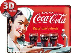 Coca-Cola Tin Sign - Waitress Targa in metallo