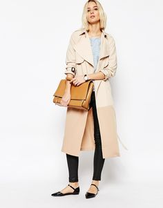 Image 4 ofPaisie Two-tone Lightweight Trenchcoat with Draped Collar