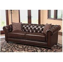 Calgary Chesterfield Top-Grain Leather Sofa