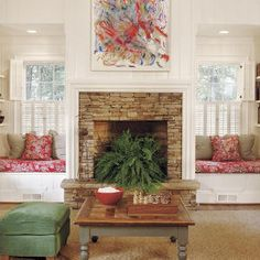 Surround Your Fireplace with Built-Ins - 104 Living Room Decorating Ideas - Southern Living Fireplace Filler, Fireplace Windows, Fireplace Seating, Family Room Fireplace, Fireplace Built Ins, Fireplace Surrounds, Fireplace Design, Brick Fireplace, Fireplace Ideas