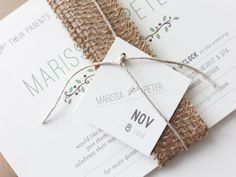 Earth Burlap Wedding Invitations / Rehearsal Dinner Invitations / Burlap Belly Band / Rustic Wedding Invitations / Kraft on Etsy, $56.41 AUD