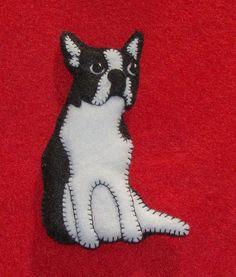 Boston Terrier Ornament/Magnet-Unique design-handmade-felt. $20.00, via Etsy.