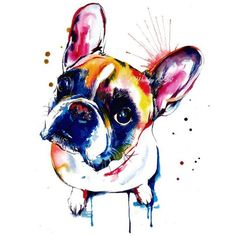 French Bulldog (Frenchie) Art Print Print of Original Watercolor... ❤ liked on Polyvore featuring home, home decor, wall art, french bulldog wall art, water color painting, french bulldog painting, watercolor painting and watercolour painting