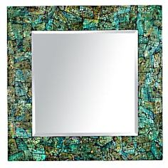 Pier 1 Blue Crackle Mother-of-Pearl Mirror, $170, Natural/Blue, 32Wx1Dx32H