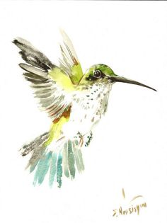 Hummingbird Original watercolor painting 12 X 9 in by ORIGINALONLY