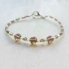 Smoky Quartz Green Peridot Natural Genuine Bracelet Gemstone Crystal Stacking Beaded Bracelet Natural Jewelry Gift For Her Women  39,00 US$