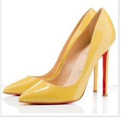 Yellow Thin Heel Pointed Women's Pumps High Heels Red Bottom Vintage Sexy Shoes for Women