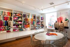 Our five favorite knitting stores in New York City offer classes, needles, and yarn galore. Lion Brand Yarn Studio, Beginning Crochet, Store Layout, Cafe House, Yarn Store, Store Displays, Knitting Yarn, Lana, Nyc