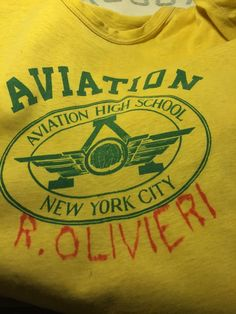 50S TEE AVIATION HIGH SCHOOL LANDMARK LIC,QU.NY NAMED.GD.WEARABLE COND.M-L in Clothing, Shoes & Accessories, Vintage, Men's Vintage Clothing, 1947-64 (Post WWII-Early 60s), Shirts   eBay