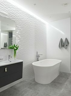 Bathroom freestanding bathtub floor tiles concrete look
