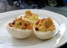"Best Deviled Eggs! ""I crave these delicious little Devil Eggs! Adding Real Bacon Bits is a must :hungry""  @allthecooks #recipe #egg #easy #appetizer #cold #thanksgiving"