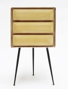 Anonymous; Parchment-Covered Wood, Enameled Metal and Brass Chest of Drawers by Arredamento Borsani, 1950s.