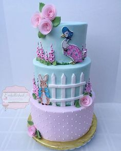 Peter Rabbit Birthday Cake With Jemima Puddleduck too Peter