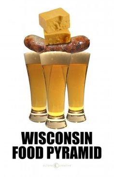 Wisconsin Food Pyramid!  OK, this was probably meant as a joke but, seriously, what could be better than some Sharp Wisconsin Cheddar, a well done Wisconsin Bratwurst, and some of Milwaukee's Finest Brew?  The only thing that would make it better would be watching The Green Bay Packers or the Milwaukee Brewers winning a game.