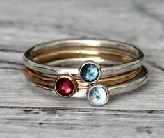 Birthstone Stacking Ring 3 Set- Hammered S.Silver and 14K Gold Filled Rings w Genuine Topaz, Garnet, Aquamarine By Pale Fish NY on Etsy, $118.00