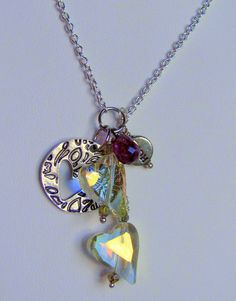Long Silver Love & Hope Necklace  Silver by RoEnchantedDesigns