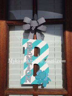 Wooden Initial Door Hanger Hospital Door Baby Nursery Newborn Baby Teal Grey Elephant