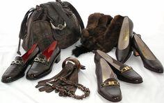 Vintage Ferragamo shoes and vintage handbag