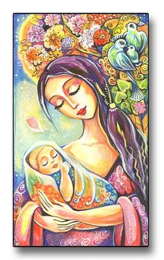 """Mother and Baby, Nursery Decor, Folk Art, Newborn Baby, Painting, Mothers Love, Mother and Child - Tree of Life - Art Print Mounted on Wood"" by evitaworks"