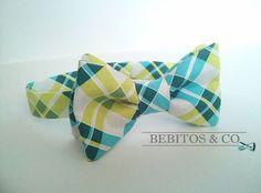 Boys Bow Tie, Green Bow Tie, Boy's bow tie, Preppy Bow Tie, Bowties, Green Plaid Bow Tie