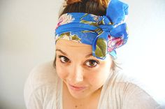Spring floral head wrap - light blue green pink coral white cream ivory - wide headband tie on bow turban wrap