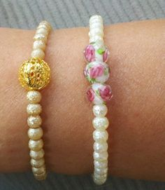 White and Rose Glass Beaded Bracelet by OneSEC on Etsy, $9.50