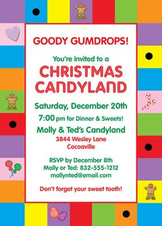 Christmas Candyland Invitation / Candy canes and Christmas. Perfect!