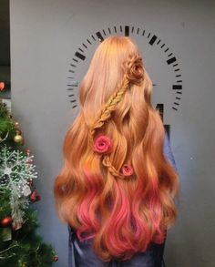 Rose, ginger, auburn, red hair color ombré with flower braid