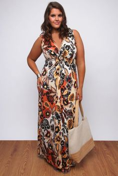Orange And Multi Tribal Floral Print Jersey Maxi Dress: Amazon.co.uk: Clothing