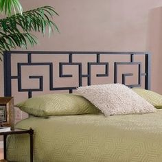 Incorporate eye-catching intrigue into your bedroom decor with this trendy Greek Key headboard. Finished in a solid matte black, this geometric headboard can be secured to a bed frame for additional stability. Black Headboard, Modern Headboard, Bed Frame And Headboard, Headboards For Beds, Metal Headboards, Bunk Beds, Bedroom Frames, Bedroom Decor, Bedroom Ideas