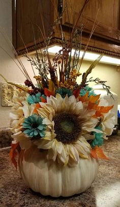Fall Flower Centerpiece, Thanksgiving Centerpiece, Pumpkin Centrpiece, Turquoise…